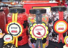 Themed candy jars at a Firetruck Party #firetruck #party