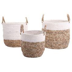 Yaaasss! #baskets #storage IMAX Shoelace and Raffia Woven Baskets - Set of 3 @Hayneedle