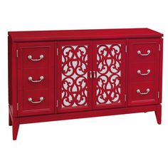 4-door credenza with a red finish. Center doors feature mirrored panels with fretwork overlay.   Product: CredenzaC...