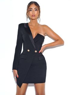 Keep One Up One Sleeved Black Crepe Tuxedo Blazer Dress - all in black ! - Keep One Up One Sleeved Black Crepe Tuxedo Blazer Dress – Miss Circle The Effective Pictures We O - Suit Fashion, Look Fashion, Fashion Dresses, Bikini Fashion, Formal Fashion, Classy Fashion, Blazer Fashion, Fashion Hair, Fashion Goth