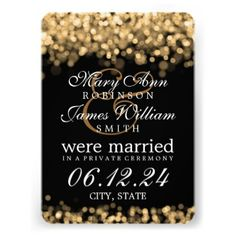 "Marriage / Elopement Gold Lights Invitations:  Elegant ""Gold Lights"" designer Marriage / Elopement announcement template. Fully customizable! Easy to use and easy to personalize. Order Today!  #eloped #elopement #weremarried #marriageannouncement #elegant"