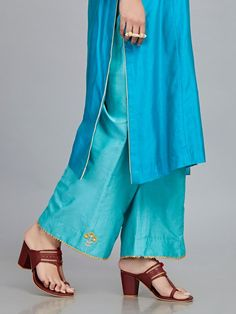 Turquoise Embroidered Chanderi Silk Kurta with Blue Cotton Silk Palazzo - Set of 2 Abaya Fashion, Fashion Wear, Fashion Pants, Indian Fashion, Girl Fashion, Embroidery On Kurtis, Kurti Embroidery Design, Hand Embroidery, Salwar Designs