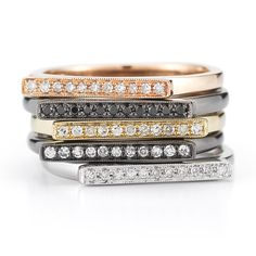 Danel Bridal: Dana Rebecca Designs.Diamond Bar Stacking Rings as an alternative for a wedding band.