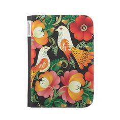 Vintage Floral Pattern With Birds Kindle Cases