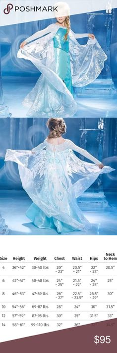 Frozen, Blue Elsa NWT! High quality costume Elsa unleashes her magic to create a magnificent gown befitting the new queen that she is, Elsa of Arendelle in this ice-blue creation with long, sheer sleeves. Sequin-covered bodice sparkles above the shimmery satin skirt, sparkling frost crystals dance across the sheer train. It sweeps behind as she strolls confidently through the ice palace. From The Ultimate Collection of princess costumes, designed in collaboration with Disney.  In organza…