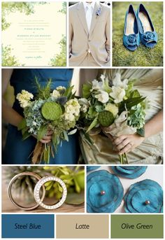 Olive Green and Blue Wedding theme