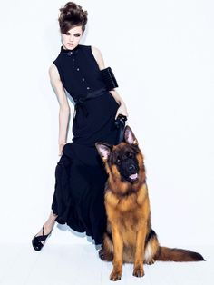 Lindsey Wixson poses with dogs for Vogue Brazil. Photographed by Jacques Dequeker