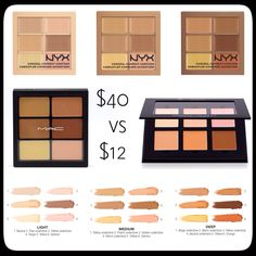 Mac Correct and Conceal Palette Vs. NYX Correct, Conceal, and Contour Palette These blendable cream palettes can highlight, contour, and even out problem spots and imperfections while enhancing and sculpting your features. With six shades to build from, you can set your skin tone anyway you like. Stay beautiful! xo.