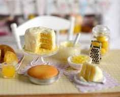 Miniature Making Lemon Cake Set by CuteinMiniature on Etsy