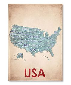 Take a look at this 'USA' Gallery Print by Americanflat on #zulily today! $25 !!