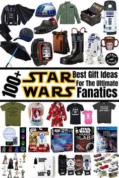 Got a STAR WARS fan in your life? Discover some incredibly AWESOME 100 Star Wars Gift Ideas for the Ultimate Fanatics. We have the coolest star wars gift ideas the galaxy has to offer! Give the perfect gift to the star wars lover in your family. Great gift ideas for kids of all ages who enjoy watching the Star Wars movies. #GiftGuide #ChristmasGifts Vader Star Wars, Lego Star Wars, Star Wars Night Light, Leia Costume, Star Wars Stickers, Ultimate Star Wars, Star Wars Books, Star Wars Watch, Han And Leia