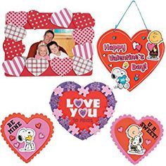 Valentine Day Craft kit | Heart Picture Photo Frame Kit, Peanut Snoopy Magnets, Love Sign Decor Kit & Love You to Pieces Kit | Classroom Exchange Sunday School Homeschool Art Supplies Activities Gift