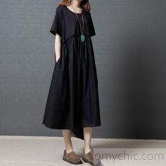 367fd229fec87 Gray summer linen dresses patchwork oversize cotton sundress short sleeve  shirt dress