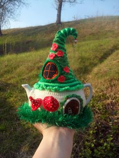 Your place to buy and sell all things handmade Crochet Fairy, Crochet Home, Tea Cosies, Cozies, Fairytale House, Teapot Cover, Cup Sleeve, Mug Cozy, Cool Mugs