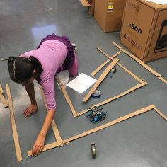 Designing a maze so we can code our #mbot through it! #robotics #coding…