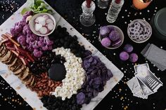 Disco Magic Halloween Party & Moon Cheese Board amazing moon cheese and crudite board with galaxy macarons Chic Halloween, Halloween Dinner, Halloween Treats, Halloween Magic, Halloween Witches, Moon Cheese, Macarons, Full Moon Party, Party Spread