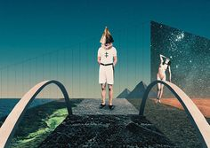 Over The Bridge Julien Pacaud • Illustration • Perpendicular Dreams