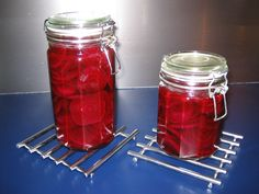 DANISH PICKLED BEETS!  2 lbs. beets, 1 1/4 cup of vinegar, 3/4 cup of water, 3/4 cup sugar. Cut the leaves off the beets and cook them for about 1 hr in enough water to cover. Pour off the water and rinse the beets with cold water. Cut the tops and roots off the beets and rub off the peel wearing rubber gloves. Slice the beets thinly and place in jars. Bring the vinegar, water and sugar to a boil. Pour the boiling liquid over the beets. Seal the jars immediately. Will last in fridge for up…