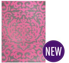 Damask Rug Pink & Grey 2 Sizes