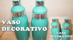 Como fazer uma garrafa decorada (jarro decorativo) - YouTube