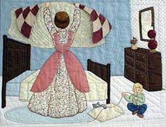 Caroline hace la cama con un nuevo edredón, juego infantil