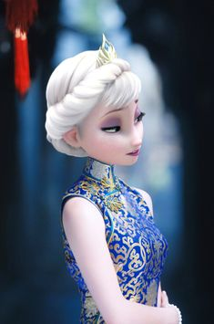 Chinese Dress Goes Disney on 'Frozen' Princesses Elsa and Anna (Photos) - Vision Times Princesa Disney Frozen, Disney Frozen Elsa, Frozen Princess, Princess Bubblegum, Disney Princess Pictures, Disney Pictures, Disney Dolls, Disney Art, Disney Films