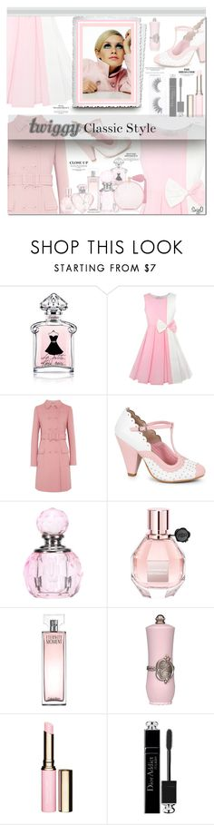 """""""MILLENNIAL PINK: Twiggy Classic Style"""" by polyvore-suzyq ❤ liked on Polyvore featuring Guerlain, Bottega Veneta, Ellie, Viktor & Rolf, Calvin Klein, Charlotte Olympia, Clarins, Christian Dior and Featherella"""