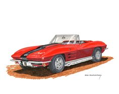 "1963 was a watershed year for the Corvette, production hit 21,513 – split quite evenly between the new ""roadster"" and stunning coupe design from Larry Shinoda under the direction of Bill Mitchell, with the now infamous (and valuable) split rear window design, ultimately one of the most collectible Corvettes ever, the C2 series ended in 1967, with the addition of 5 slot fender vents and the famous '67 only hood scoop and contrasting color ""stinger"" stripe on the big block cars"