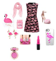 """Flamingo"" by maddiebelle06 on Polyvore featuring RED Valentino, WithChic, Lulu Hun, Casetify, Fendi, Lime Crime and MAC Cosmetics"