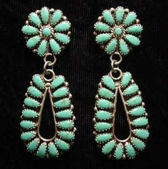 OLD PAWN NAVAJO INDIAN TURQUOISE AND SILVER EARRINGS - I fell in love with old pawn jewelry when I lived in Arizona.  I can't afford it, but I love it.  I have to make do with the new stuff.