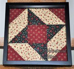 Framed quilt block, Friendship Star, hand quilted