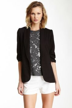 Necessary Objects Ruched Sleeve Blazer