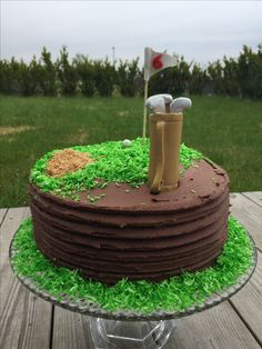 Chocolate golf cake for golf lover. Coconut grass and buttercream.
