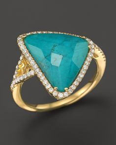 Meira T 14K Yellow Gold Turquoise and White Topaz Doublet Triangle Ring with Diamonds