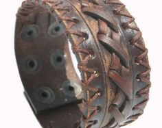 SB SURFER leather bracelet  genuine leather wristband first class leather cuff men's bracelet worn brown