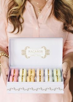 We are obsessed with these macaron jewelry boxes and your bridesmaids will be too! Bridesmaids, Bridesmaid Gift Ideas