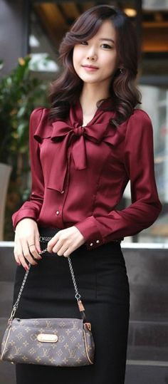 Classy burgundy silk ascot bow tie blouse and louis vuitton bag