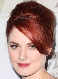 Updo Hairstyles For Short Hair - Auburn Blonde Bouffant