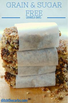 Sugar Free and Grain Free Granola Bars. So simple to make. Just throw everything in the blender and you have a fabulous nutritious snack. Gluten free, no added sugar, grain free, wheat free and healthy. Suitable for low carb, paleo, primal, diabetics and coeliacs. | ditchthecarbs.com