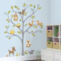 Wallstickers - träd med skogsdjur - stort i gruppen - Barnrum efter färg / Grönt hos Blå Elefant - Blaue Elefant (roo-RMK2729SLM)