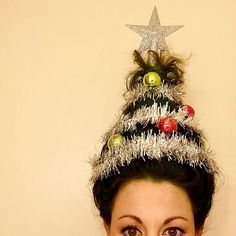 62 Most Creative Christmas Hairstyles for Women To Look Pretty And Cool - Happy Christmas - Noel 2020 ideas-Happy New Year-Christmas Christmas Tree Hair, Christmas Tree Costume, Christmas Tree Fancy Dress, Xmas, Red Christmas, Christmas Stockings, Ugly Christmas Sweater Images, Crazy Christmas Sweaters, Cindy Lou Who Hair