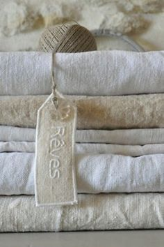 Stack of old linen fabric.