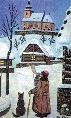 Josef Lada (Czech folk art painter) - Christmas in Czechia Art And Illustration, Illustrations, Art Populaire, Naive Art, Winter Solstice, Prague, Folk Art, Christmas Cards, Artsy