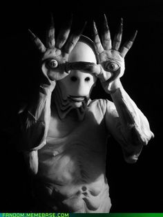 spot-on cosplay of Pale Man from Pan's Labyrinth. He gives me the creeps...