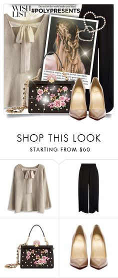 """""""#PolyPresents: Wish List"""" by beautifulplace ❤ liked on Polyvore featuring Chicwish, Dolce&Gabbana, contestentry and polyPresents"""