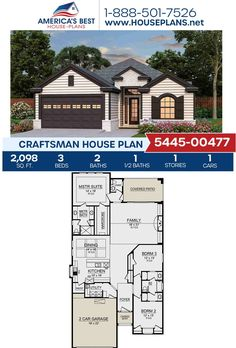 Covered in stunning Craftsman details, Plan 5445-00477 is highlighted by 2,098 sq. ft., 3 bedrooms, 2.5 bathrooms, a covered porch, a kitchen island and jack & jill bathrooms. Learn more about this plan on our website. #craftsman
