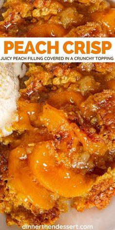 Peach Crisp is an all-American dessert with juicy peach filling covered in a crunchy oat topping, made in about an hour. Necterine Recipes, Appetizer Recipes, Dinner Recipes, Cooking Recipes, Dessert Recipes, Amish Recipes, Dutch Recipes, Recipies, Fresh Peach Crisp
