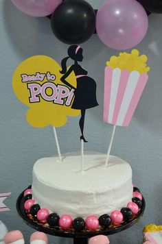 Bubble gum cake at a ready to pop baby shower party! See more party planning ideas at CatchMyParty.com!