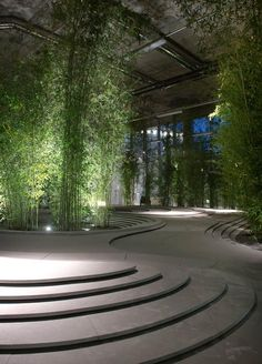 Stonescape by Japanese architect Kengo Kuma, Milan 2013. Bamboo trees sprouted up around a topographical landscape of stone and water at this beautiful installation, part of an exhibition of contemporary living.