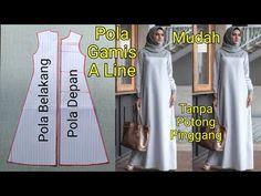 Kebaya Dress, Gaun Dress, Blouse Dress, Baby Clothes Patterns, Clothing Patterns, Dress Patterns, Dress Muslim Modern, Abaya Pattern, Pola Rok